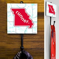 Missouri State Runner Medal Hook - This GoneForaRUN exclusive Wall Medal Display is made from hand-forged steel and features a customized printed tile.  Showcase one special medal, or stack multiple medals on the hook for easy access.