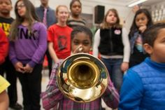 It felt like a party this morning in the band room at Madison Elementary School, as students were excitedly opening boxes to see what was inside. In a way, it was a party of sorts as students were opening gifts courtesy of the Des Moines Public Schools Foundation … brand new musical instruments!