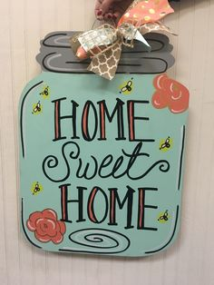 Home sweet home Mason jar Door hanger Craft night out Statesville nc Mason Jar Hanger, Mason Jar Art, Mason Jar Crafts, Black Christmas, Christmas Diy, Hanger Crafts, Burlap Door Hangers, Painted Jars, Painted Signs