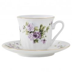 Lucinda Porcelain Teacup and Saucer - Set of 6 (Not bone china, but appropriate, nonetheless.)
