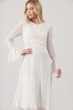 Frock and Frill Clio Embellished Vintage Fit and Flare Dress Sequin Midi Dress, White Midi Dress, Embellished Dress, Vintage Midi Dresses, Vintage Inspired Wedding Dresses, Cute Dresses, Wedding Robe, Boho Wedding Dress, Bridal Dresses