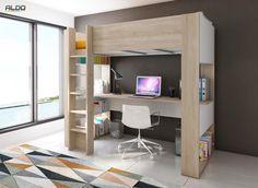 Łóżko piętrowe z biurkiem B - biały
