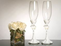 Bride and Groom with Calla Lily Bouquet Toasting Glasses *** Want to know more, click on the image.