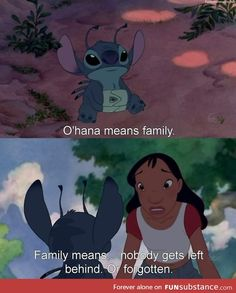 Day 21 Favorite Quote: Ohana means family. Family means.nobody gets left behind. Or forgotten (Lilo & Stitch) Tv Show Quotes, Movie Quotes, Cartoon Quotes, Movie Memes, True Quotes, Funny Quotes, Disney Memes, Disney Quotes, Cute Disney