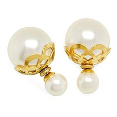 STEELTIME Women's 18K Gold Plated Stainless steel Pearl Double Sided Earrings with Filigree *** You can get additional details at the image link.