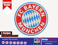 Embroidery Store, Embroidery Files, Machine Embroidery Designs, Shirt Designs, Logo Design, Fc Bayern Munich, Embroidery, Machine Embroidery