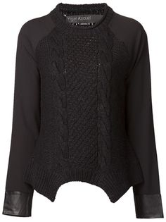 YIGAL AZROUEL Open Crew Neck Pullover