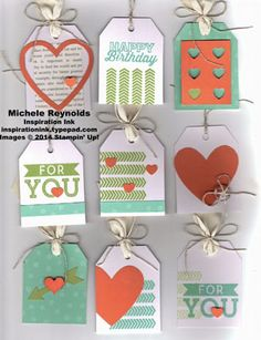 "Handmade tags by Michele Reynolds, Inspiration Ink, using Stampin' Up! products and April and May Paper Pumpkin Kits - Angled Tag Topper Punch, 1/2"" Circle Punch, What's Up Punch, and Itty Bitty Accents Punch Pack."