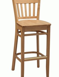 wooden bar stool with a back