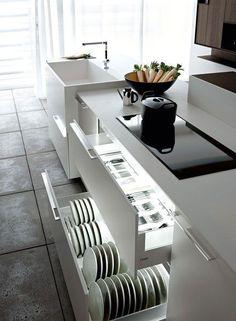 A Collection Of 10 Small But Smart Kitchen Interior Designs Kitchen Cupboard Organization, Kitchen Cabinet Drawers, Modern Kitchen Cabinets, Modern Kitchen Design, Interior Design Kitchen, Kitchen Storage, Plate Storage, Dish Storage, Modern Interior
