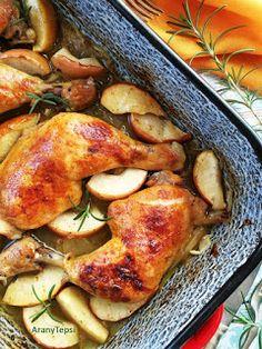 AranyTepsi: Almával, hagymával sült csirkecombok