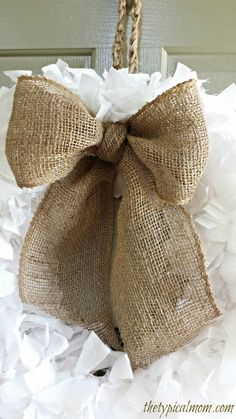 How to make a burlap bow and rag tie wreath.