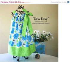 Sew Easy Pillowcase Dress Pattern - INSTANT DOWNLOAD - PDF Pattern - Size 6 mos baby -14 child Sewing Pattern. $7.46, via Etsy.