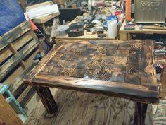 Wood burned coffee table