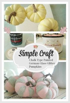 Beautiful shabby chic chalk type painted pumpkins with glitter