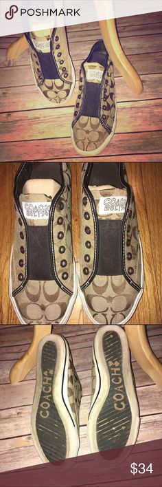 Coach Slip on Sneakers 👟 Super cute! Tan with dark brown signature C's. Has an elastic piece across the top in lieu of laces. Perfect to just slip on and go! Excellent condition, no major flaws, rips or stains, just normal wear. Check out my other listings to bundle and save 25% 😎! Coach Shoes Sneakers