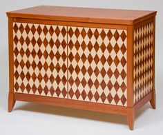 Diamond Cabinet (Jatoba With Parquetry Veneer Work In A Harlequin Pattern  Of Madrone Burl And Maple Diamonds) By Craig Thibodeau.