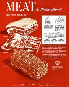 """""""Meat in World War II""""  US American Meat Institute 1945"""
