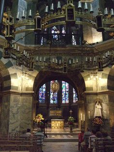 Interior of the Palatine Chapel, Aachen Cathedral, Germany by Jim Linwood. Early Medieval chapel is the remaining component of Charlemagne's Palace.