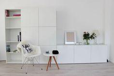 Stacked IKEA Besta units storage