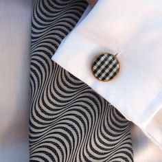 Hounds tooth #cufflinks in black... handmade wood cufflinks