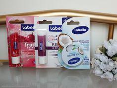 Review of Labello lip balms (Repair & Beauty, Fruity Shine Cherry, Lip Butter Coconut)