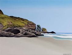 Donald Binney Island and Man's Head II Landscape Paintings, Landscapes, New Zealand Landscape, Unusual Art, Australian Art, Art Auction, Auckland, Kiwi, Choices