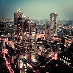 This is Tokyo at night. Tokyo is the capital of Japan.
