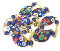 Vintage Millefiori Necklace, Millefiore Disks, 1950s Italian Estate Jewelry by BuyVintageJewelry