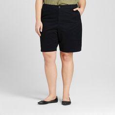 Women's Plus Size 9 Chino Short Black 16W - Merona