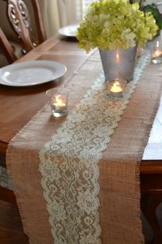 Mint Green Lace and Burlap Table Runner 12 wide by by LolaAndBea, $16.00