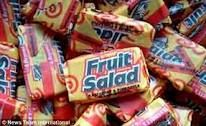 1970's sweets - Fruit Salad chews. Usually available from Pic n Mix counters along with other penny sweets such as Blackjacks and Drumstick chews. In the early 70's you could buy 8 fruit salad chews for a penny.