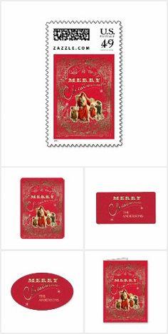 Elegant romantic Christmas season design in warm red, vintage Santa and golden text! Vintage Ornaments, Vintage Santas, Vintage Christmas, Merry Christmas, Paper Design, Stationary, Card Making, Greeting Cards, Printables