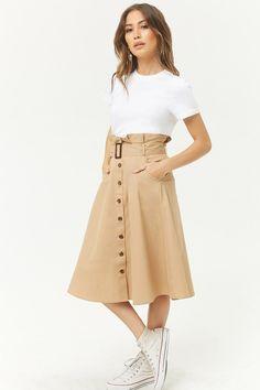 Paperbag-Waist Midi Skirt