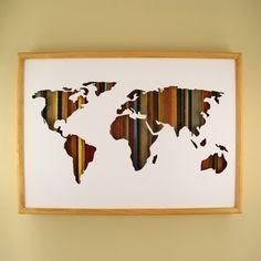 "World Map - 24"" x 17"" x 2"" - $305.00"