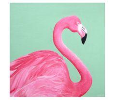 "Pink Flamingo - 16"" x 16"" - Original Painting. $200.00, via Etsy."