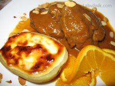 Vepřová líčka s pomerančovou omáčkou a  gratinovanou bramborou  s alioli
