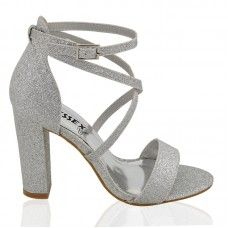 BRIELLA SILVER GLITTER CROSS OVER STRAPPY BLOCK HEEL SANDALS