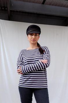 Minquiers Drop Breton Striped Top Breton Top, Saint James, High Rise Jeans, Size Model, Blue And White, Drop, How To Wear, Cotton, Pants