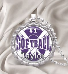 10 Custom Softball Bottle Cap Necklaces - Perfect as end of season team gifts Bottle Cap Magnets, Bottle Cap Necklace, Bottle Cap Crafts, Bottle Caps, Softball Stuff, Fastpitch Softball, Team Gifts, Sports Gifts, Key Chains