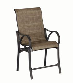HAMPTON BAY VALLEY STREAM HIGH BISTRO CHAIR (2-Pack) - These two durable, steel high bistro chairs have dark taupe padded sling seating. They are easy to stack for storage.