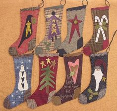"9"" Wool Christmas Stockings    I make a new stocking each Chistmas for each grandchild, with money tucked inside,  Primitive Gatherings Quilt Shop"