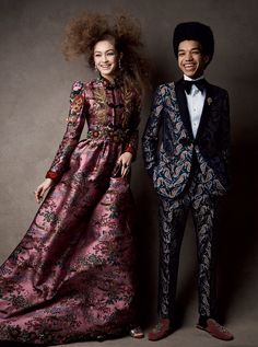 Gigi Hadid by Patrick Demarchelier for Vogue US April 2017 | CUT FROM THE SAME CLOTH A shining chinoiserie-inspired ball gown trimmed with red fur cuffs will have you conquering any evening affair. Gucci dress and shoes; select Gucci boutiques. David Yurman earrings. Bulgari rubellite ring. Justice Smith, who starred with Lucas Hedges in Yen and is currently shooting the next Jurassic Park film, wears a Gucci suit, shirt, and shoes. Tiffany