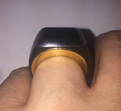 Black jade ring with yellow gold insert #ring #blackjade #jade #gold #yellowgold #jewelry