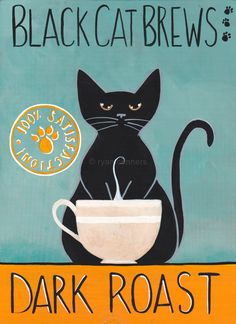 Black Cat Brews Coffee Cat Cat Folk Art Print avail in 3 sizes by 'KilkennycatArt' on Etsy ♥༺❤༻♥ Crazy Cat Lady, Crazy Cats, I Love Cats, Cool Cats, Black Cat Art, Black Cats, Photo Chat, Cat Posters, Here Kitty Kitty