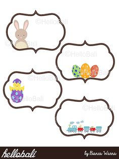 Printable Easter Label PDF Chick Clipart Polkadot by HelloBali