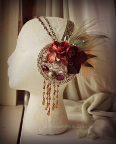 floral headdress  | Floral & Feather Mucha style headdress by the ... | things i make [pl ...