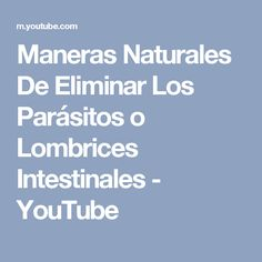 Maneras Naturales De Eliminar Los Parásitos o Lombrices Intestinales - YouTube