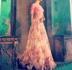 Sonal Kalra Ahuja - gorgeous airy rose patterned lengha. I am so obsessed with floral print in indian clothes. it's ridiculous.