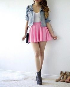 Pink skirt, white tank or tee, denim jacket, black boots or shoes Pink Skirt Outfits, Girly Outfits, Pretty Outfits, Spring Outfits, Teen Fashion Outfits, Cute Fashion, Outfits For Teens, Fashion Dresses, Cute Casual Outfits